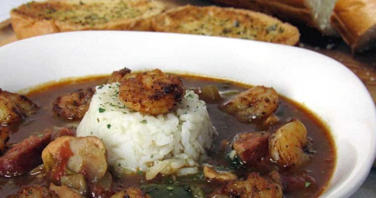 Chicken and Sausage Gumbo with Blackened Shrimp Recipe
